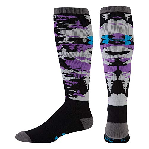 Under Armour Men's ColdGear Tundraflage Cushion 0Ver-The-Calf Socks (1 Pair), Black/Hedrick Purple, (Best Under Armour Snow Socks)