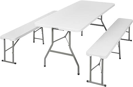 TecTake Conjunto Mesa y Bancos Plegables Muebles para Camping Picnic (Blanco | no. 401067)