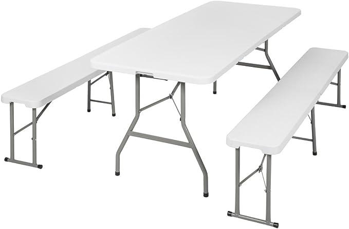 TecTake Conjunto Mesa y Bancos Plegables Muebles para Camping Picnic (Blanco   no. 401067)