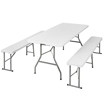 TecTake Folding Dining Trestle Table and Bench Outdoor Camping ...