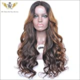 6A Goddess Wiggie Ombre Color Glueless Silk Top Lace Front Wigs Brazilian Human Hair Wigs for Black Women 130 Density (22inch)