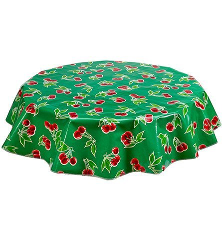 Round Freckled Sage Oilcloth Tablecloth in Cherry Green - You Pick the - Product Cherry Green