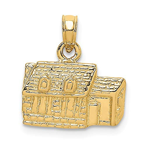 14k Yellow Gold 3 D Kings Arms Tavern Williamsburg Va Pendant Charm Necklace Travel Transportation Fine Jewelry Gifts For Women For Her