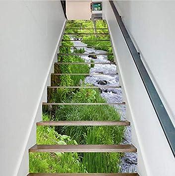 FLFK 3D Paisaje de la hierba verde del río auto-adhesivos Pegatinas de Escalera pared pintura vinilo Escalera calcomanía Decoración 39.3 pulgadas x7.08 pulgadas X 13Piezas: Amazon.es: Bricolaje y herramientas