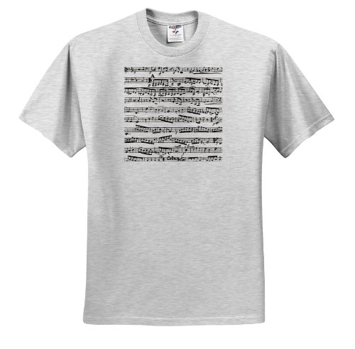 InspirationzStore Music Art Designs - Musical Notes - Vintage Sheet Music - Black and White Piano Notation - Pianist and Musician Gifts - T-Shirts - Adult Birch-Gray-T-Shirt Large (ts_112825_20) (Bleach Soundscape To Ardor Piano Sheet Music)