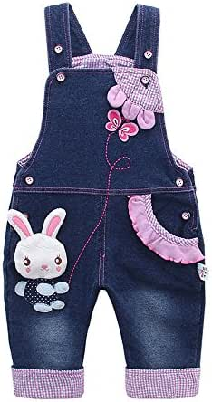 Kidscool Baby Girls Casual Soft Denim Overalls Rabbit,12-18 Months, Blue