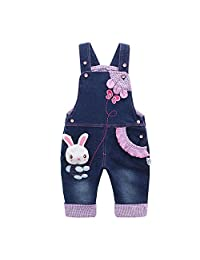Kidscool Baby Girls Cotton 3D Cute Rabbit Butterfly Denim Overalls