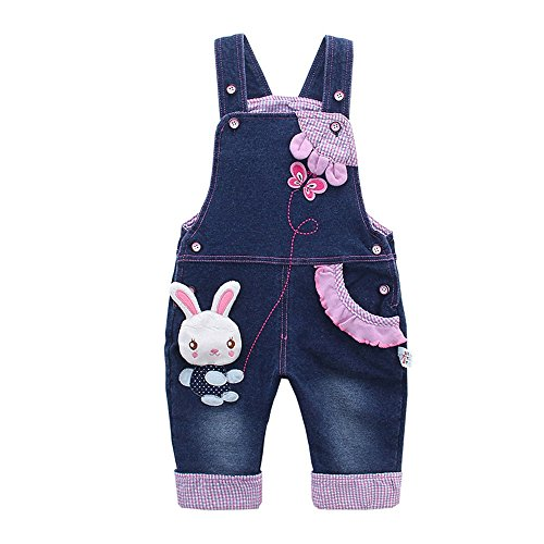 Kidscool Baby Girls Casual Soft Denim Overalls Rabbit,12-18 Months