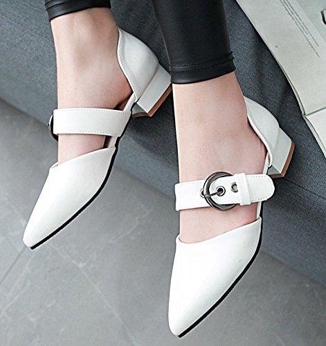 Ballerines Confortable Plate Blanc Chaussure Femme Easemax Pointue À Boucle wpqI0