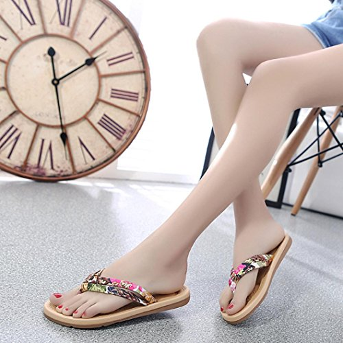 Fullkang Lady Fashion Weave Ribbon Summer Loafers Bohemia Sandals Beach Flip Flops Red IeFWf