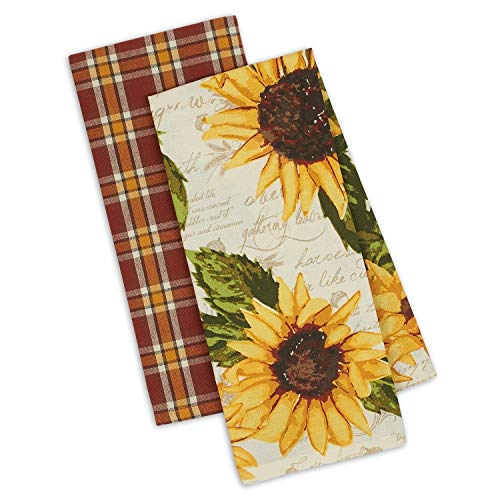 Towels 2 Dish Kitchen (DII Design Imports Set 2 Rustic Sunflower Kitchen Dish Towels - Rustic Sunflower Print - Rustic Plaid)