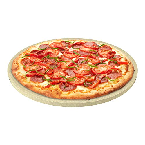 CastElegance Durable & Safe Thermarite Pizza Stone for Best Crispy Crust with Bonus Recipe E-Book & Scraper – 14in. Round