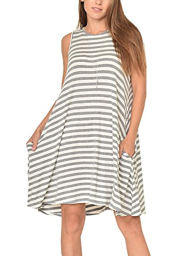 Lynwitkui Womens Summer Striped Sleeveless Swing T-shirt Dress Casual O-Neck Midi Maternity Dresses With 2 ()