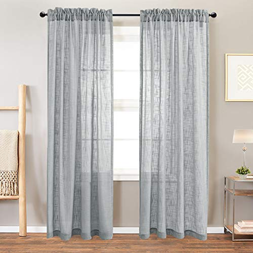 Linen Look Sheer Window Curtains for Living Room Curtain Drapes 108 inches Long Rod Pocket Window Treatment Set for Bedroom 2 Panels Grey (108 Long Sheer Curtains Inches)