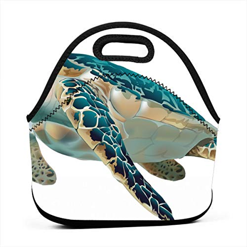 LKJDAD Turtle Clipart Fish Lunch Bag, Thick Insulated Lunchbox Bags,Tote Box with Zipper Closure for Kid Travel Picnic Office ()