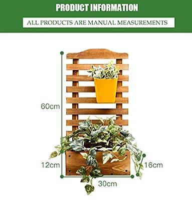 JANRON Wall-Mounted Garden Rectangular Wooden Planter with Lattice for Vines Garden Climbing Flower Plant Pot Box Garden Patio Wood Trellis Panel - L:30XW:16XH:60cm