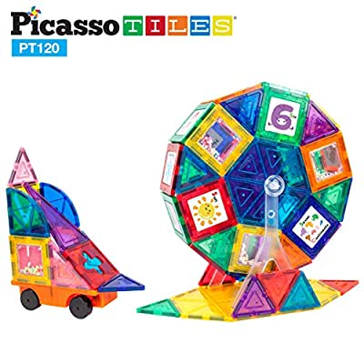 PicassoTiles 120pc Master Builder Magnetic Building Block Construction Set with Ferris Wheel, 3-in-1 Theme, Castle Click-in, 28 Educational Alphabet Animal and Number Graphic Card, Car Truck Windmill: Toys & Games