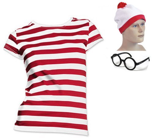 [Hat, Black Glasses, & Where's Lady in a Crowd Red & White Stripe Wally Like T-Shirt (UK 18-20 XL)] (Wheres Wally Fancy Dress Kids)