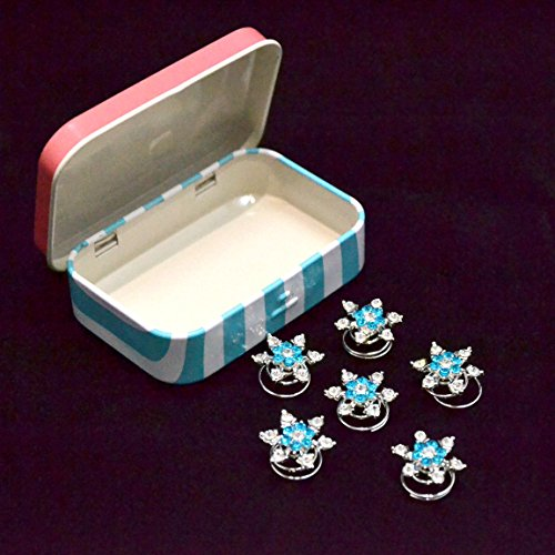 Qlove Set of 6 Snowflakes Flower Crystal Rhinestone Hair Coils Twists Spirals Hair Pin Accessories with Durable Cute Metal Jewelry Box Container -Water Blue and (Snowflake Wedding Accessories)