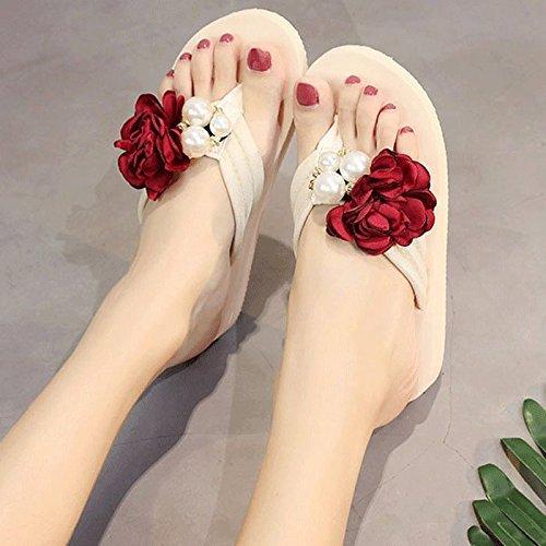 rouge A Yingsssq Pantoufles pour Les Les dames, vêteHommests de Plein air, Tourisme, Vacances, Plage (Couleuré   Rose, Taille   6 US 36 EU 3.5 UK)