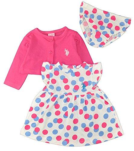 U.S. Polo Assn. Little Girls' Polka Dot Jersey Dress and Cropped Cardigan with Panty, Optic Vanilla/Fuschia 3/6M