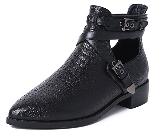 Women's Pointed Toe Tuscany Croc Embossed Leather Buckle Strap Ankle Boots Black 6 -