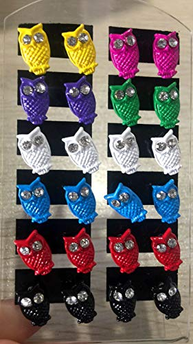 12Pairs/pack style Simulated Rhinestone mix colors owl