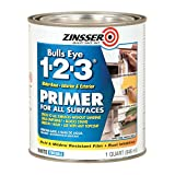 zinser sealer - Rust-Oleum 2004 White Zinsser 02001 Bulls Eye 1-2-3 Water Based Primer, 1 quart Can (Pack of 6)