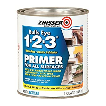 Rust-Oleum 2004 White Zinsser 02001 Bulls Eye 1-2-3 Water Based Primer, 1 Quart Can (Pack of 6)