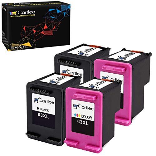 Cartlee 4 Remanufactured 63XL 63 XL High Yield Ink Cartridges for Envy 4512 4520 DeskJet 3632 2130 1110 1111 1112 2132 3630 3634 3636 3637 OfficeJet 3830 3833 4650 4655 4652 Printer (2 Black, 2 Color)