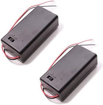 Portapilas 9V con Cable y Caja con Tapa e Interruptor (2 Unidades): Amazon.es: Electrónica