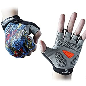 Cycling Gloves Mountain Bike Gloves Road Racing Bicycle Gloves Light Silicone Gel Pad Riding Gloves Half Finger Biking Gloves Men/Women Work Gloves (Gray, L)