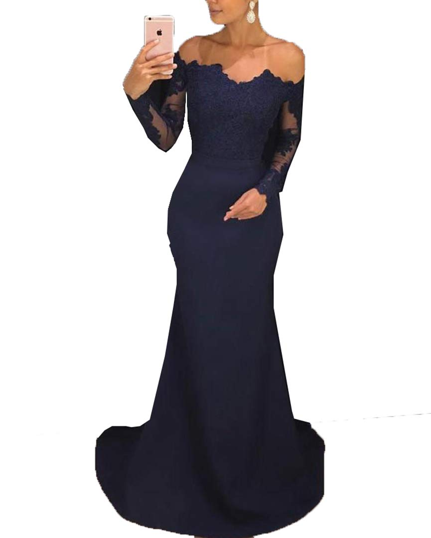 2019 Mermaid Bridesmaid Dress Long Sleeve Prom Dresses with Lace Navy Blue Evening Party Gowns Off The Shoulder