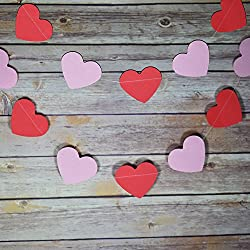 Quasimoon Pink and Red Heart Shaped Valentine's Day Paper Garland Banner (10FT) by PaperLanternStore