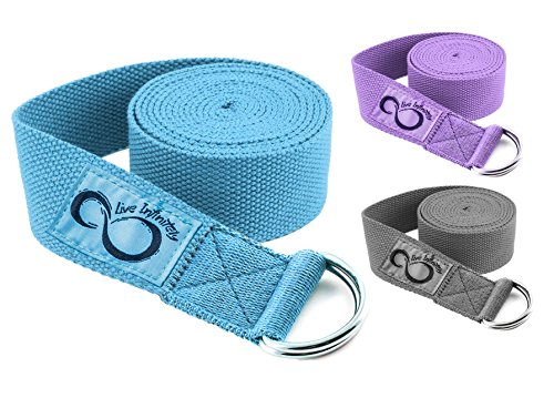 Cotton Yoga Strap- 8ft With Easy Adjusting D-Ring Buckle for Stretching, Flexibility & Physical Therapy by Live Infinitely (Teal)