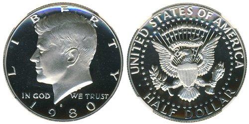 1980 S Gem Proof Kennedy Half Dollar US Coin 1/2 DCAM US - Half Roll Kennedy Gem