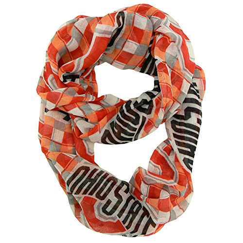 Ohio State Buckeyes Print (NCAA Ohio State Buckeyes Sheer Infinity Plaid Scarf, One Size, Red)