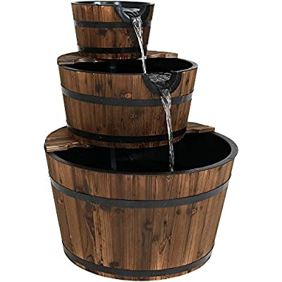 Sunnydaze 3-Tier Wood Barrel Water Fountain, Outdoor Patio and Backyard Waterfall Feature, Rustic, 30 Inch - CHARMING BACKYARD FEATURE: 24 inches diameter x 30.25 inches tall; weighs 25.2 lbs REALISTIC DETAILS: Barrels made with real fir and feature metal rings and durable inner plastic liners; when moving carefully lift from bottom to prevent wood from cracking EASY SETUP: Cascading fountain includes electric submersible JR-600 pump; pump plugs into a standard outside electrical outlet; wipe with a dry rag prior to assembly to remove stain residue - patio, fountains, outdoor-decor - 51A5%2Bvt4EQL. SS400  -