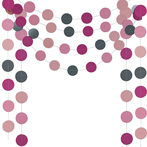G DECO HANGLING WALL HANGING DOT CIRCLE PAPER GARLAND 4x10ft WEDDING, BRIDAL SHOWERS, BIRTHDAY PARTY ,PARTY EVENT DECORATION (Bridal Party Ornaments)