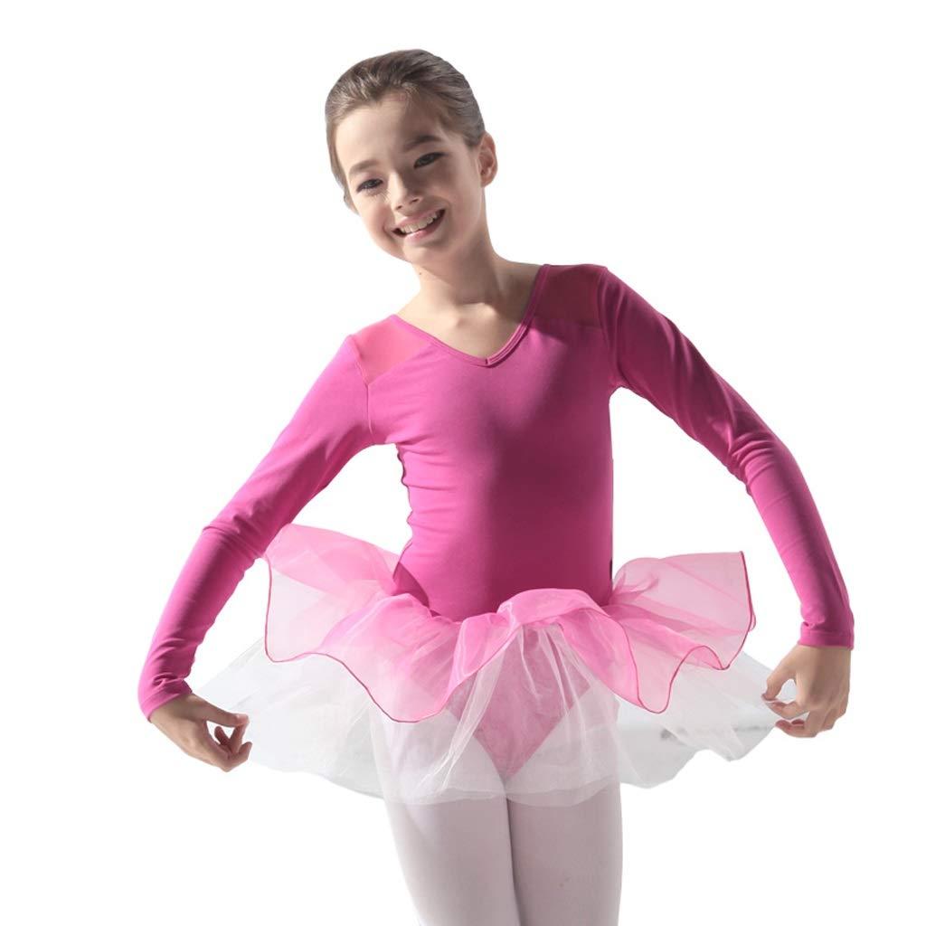 B Height140-150 Jian E& VêteHommests de Danse de Ballet pour Enfants Filles pratiquent des vêteHommests de Treillis en Gaze dans la Robe de Jupe L Combinaison
