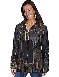 Women's Fringe Tooled Leather Jacket - L727-259