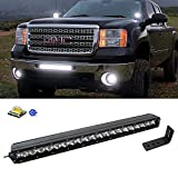 "iJDMTOY Complete Lower Bumper Grill Mount 20"" 100W High Power LED Light Bar System Combo For 2009-2013 GMC 1500 or 2008-2014 2500HD 3500HD"
