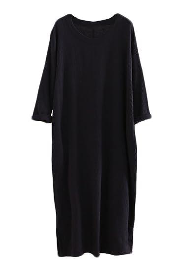 e7e629b0d5 Soojun Women s Cotton Linen Vintage Round Neck Long Sleeve Dresses ...