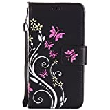 SONY XPERIA Z5 Case Black Leather, Cozy Hut Retro Butterfly Flower Patterned Embossing PU Leather Stand Function Protective Cases Covers with Card Slot Holder Wallet Book Design Detachable Hand Strap for SONY XPERIA Z5 - black