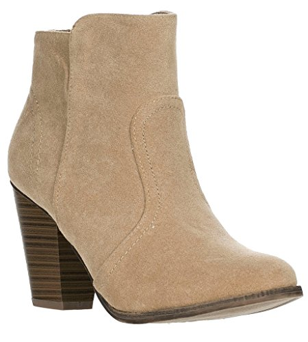 Breckelles Womens HEATHER-34 Faux Suede Chunky Heel Ankle Booties Taupe-new