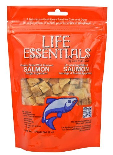 Cat-Man-Doo Life Essentials Freeze Dried Wild Alaskan Salmon Grain-Free Organic Treats for Dogs and Cats - 5 oz Resealable Bag 2 (Treats Salmon)