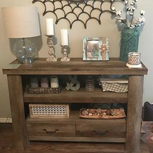 Rustic Entryway Cabinet Console Table Entryway Living Room Doors Enclosed Shelves Top Furniture & E book By Easy2Find (Classics Furniture Console Ltd Table)
