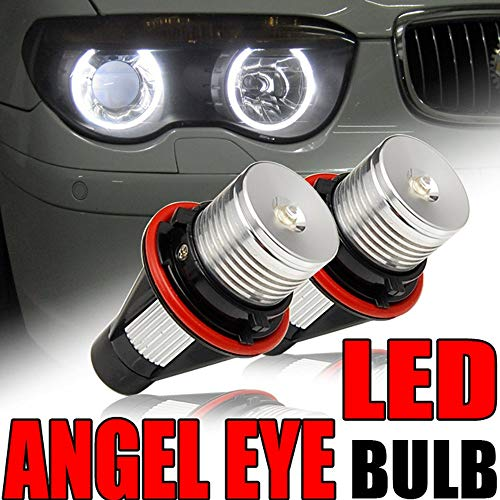 SIZZLEAUTO Pair High Power LED Angel Eye Headlight Bulb For BMW 1/5/6/7 Series X3 X5 M5 M6 E39 E53 E60 E63 E64 E65 E66 E83 E87(Fit ONLY With Factory Equipped Xenon HID System and Angel Eye Rings)