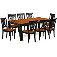 East West Furniture LGPL9-BCH-W 9 PC Table & Chair Set with One Logan Table & 8 Dining Chairs in black & Cherry Finish