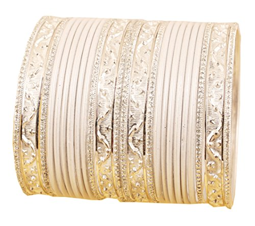 Touchstone NEW Colorful 2 Dozens Bangle Collection Indian Bollywood Alloy Metal Textured Vanilla White Designer Special Large Size Bangle Bracelets Set of 24 In Antique Gold Tone For Women.